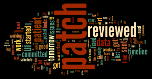 Word cloud of terms used in timesheet reports.